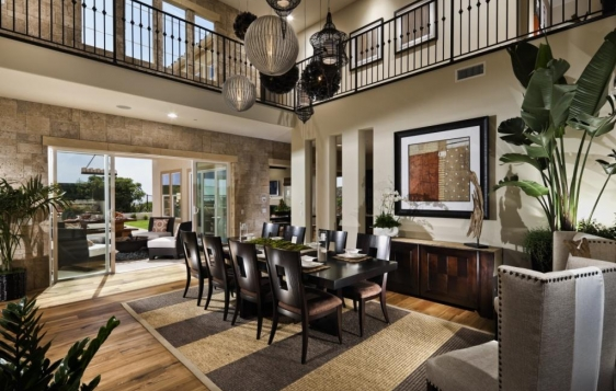 Dining room at Sandalwood in La Costa Oaks master planned community. New homes for sale in La Costa and Carlsbad