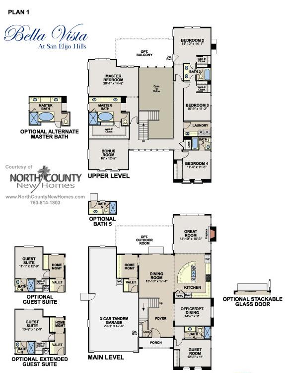 floor plan 1 at bella vista in san elijo hills new homes