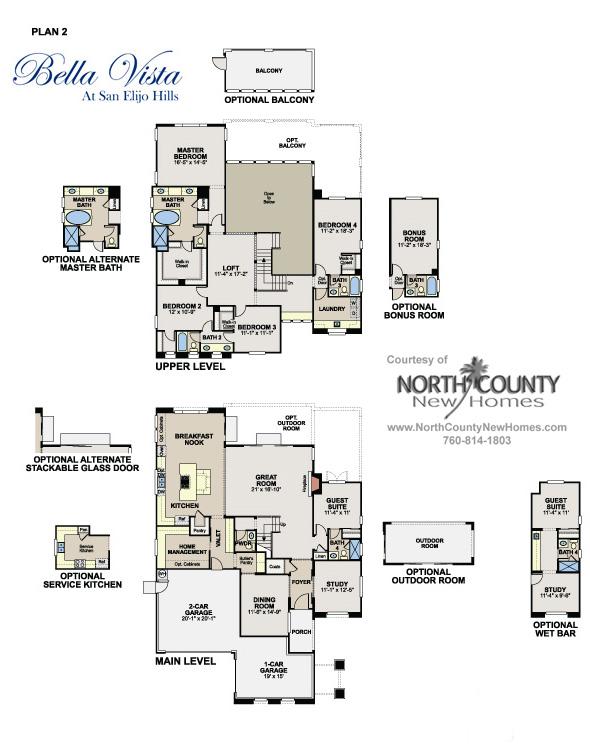 floor plans at bella vista in san elijo hills new homes
