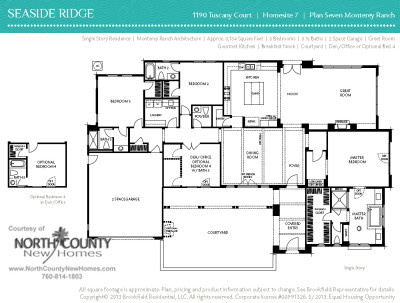 Floor plan 7 at Seaside Ridge in Encinitas. New construction homes for sale in Leucadia and Encinitas by Brookfield Homes