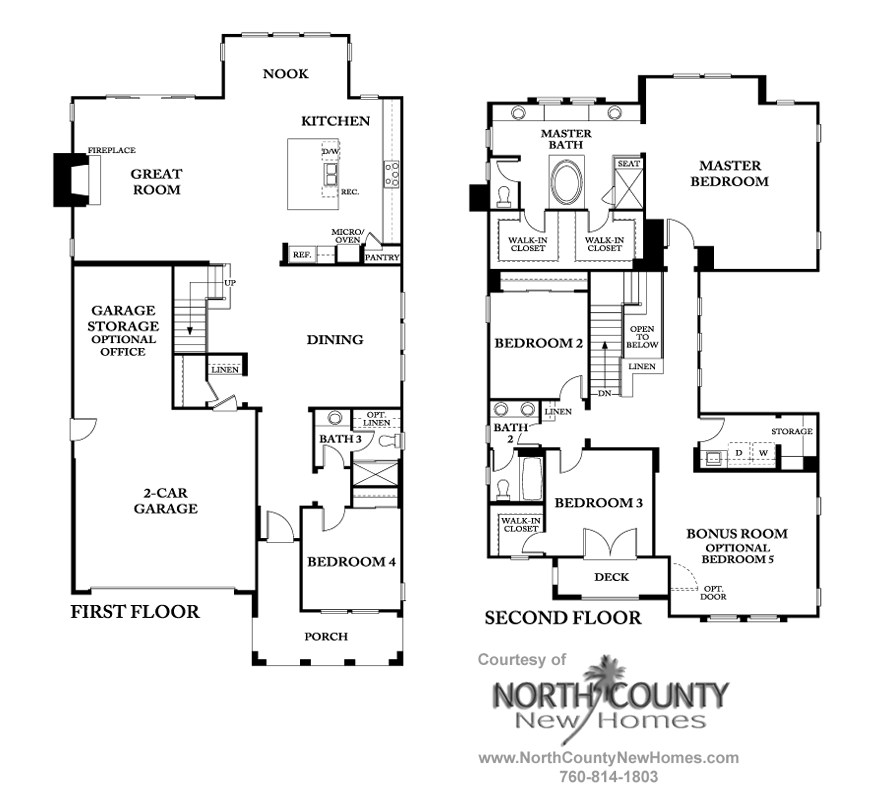 Westcott at la costa oaks floor plan 4 north county new for Standard homes plans