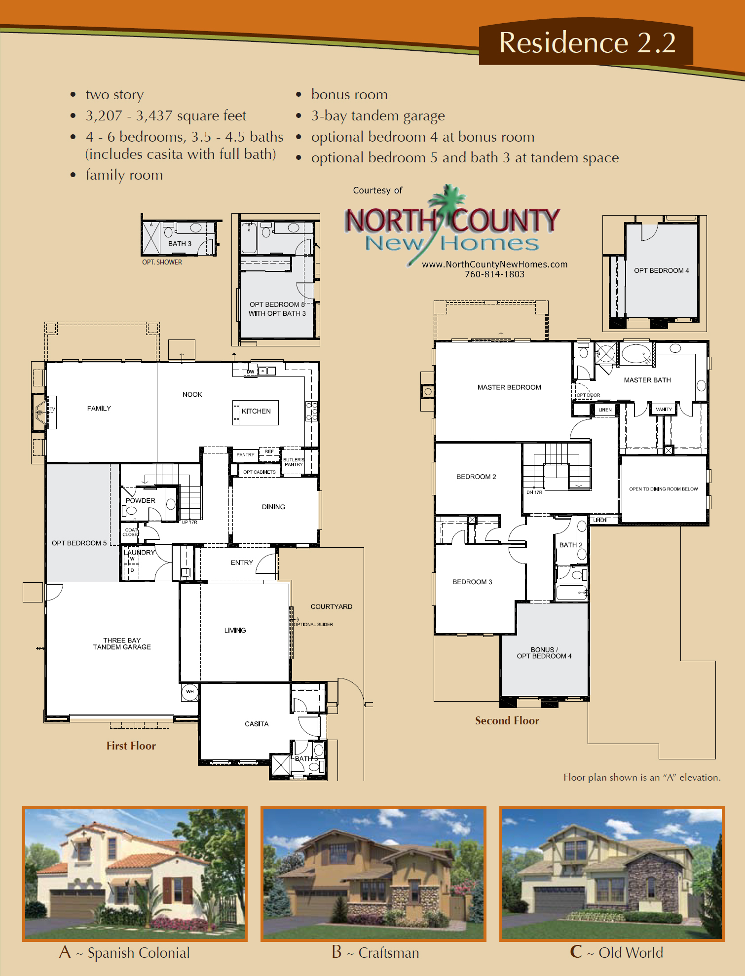 Altaire floor plan 2 2 new homes for sale in san elijo hills for New home floorplans