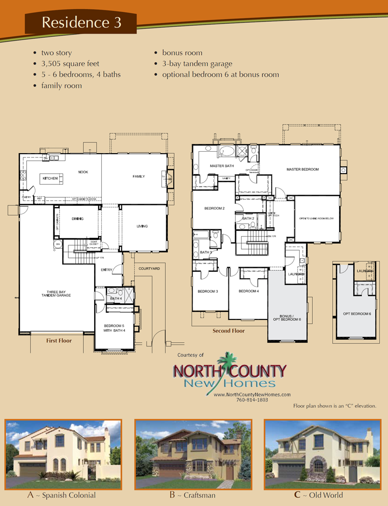 Altaire floor plan 3 new homes for sale in san elijo hills for New home floorplans
