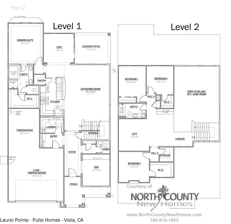 Floor plan 2 at Vista Pointe in Vista, CA. New homes for sale in Vista.