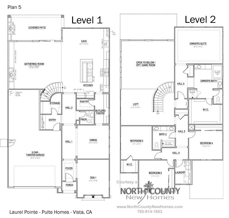 Floor plan 5 at Vista Pointe in Vista, CA. New homes for sale in Vista.