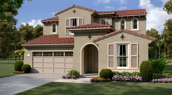 Laurel Pointe exterior - Plan 3. New homes for sale in Vista, CA