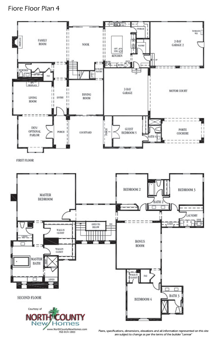 Floor Plans for Fiore by Lennar, New homes for sale in Encinitas