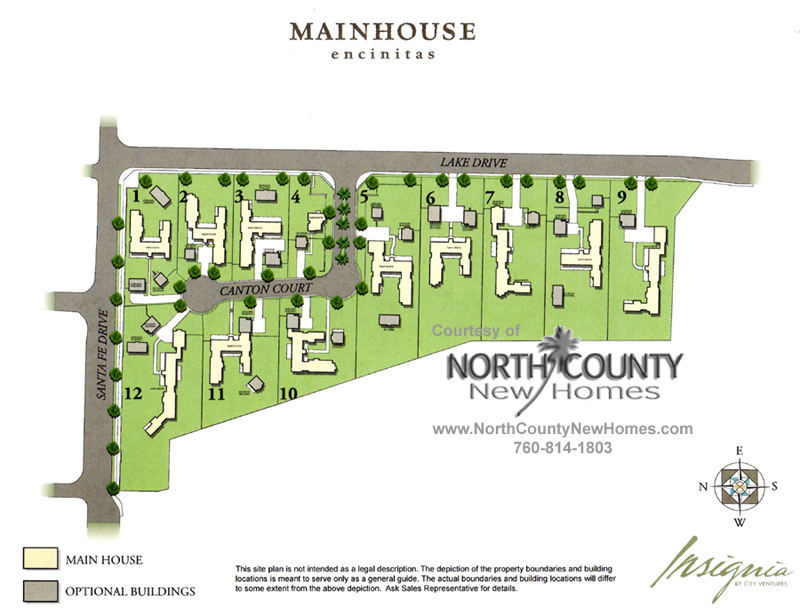 Site Plan for Mainhouse – New Homes in Encinitas