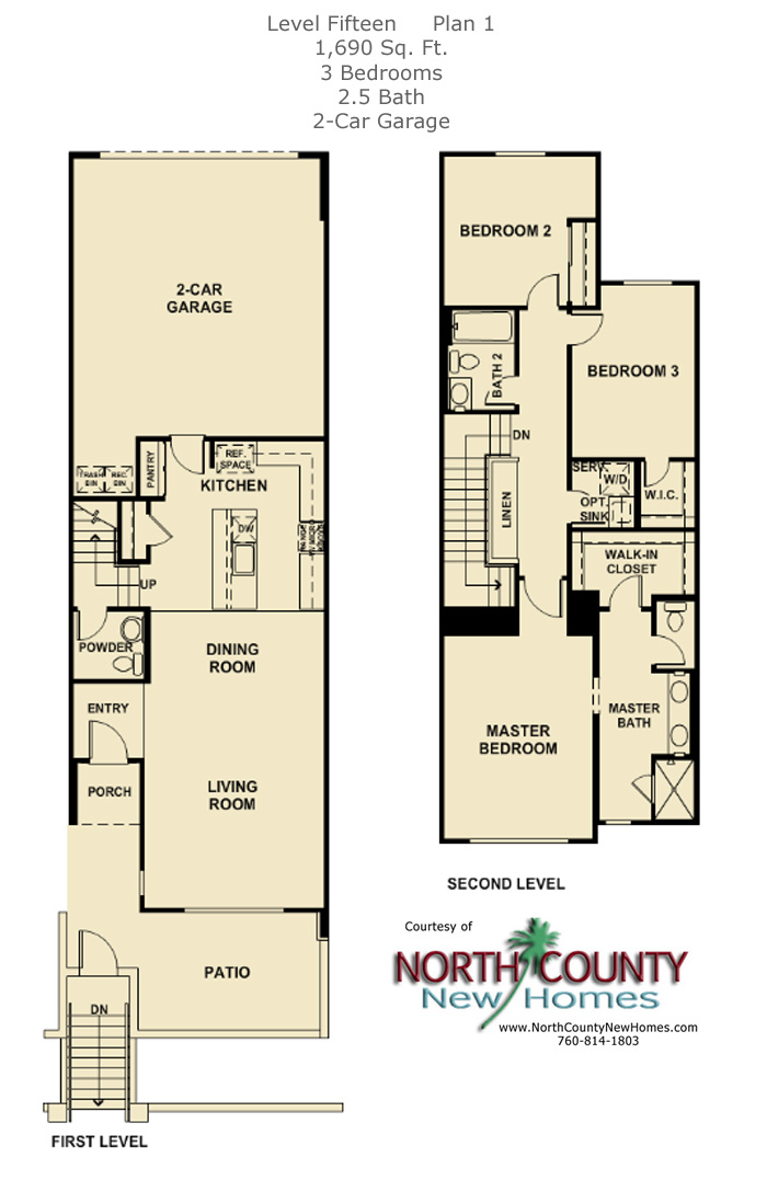 New townhomes in Escondido, new homes in Escondido at Level Fifteen. Floor Plan 1