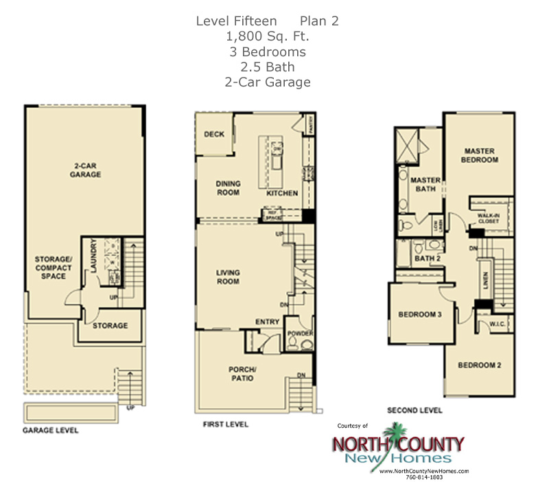 New townhomes in Escondido, new homes in Escondido at Level Fifteen. Floor Plan 2