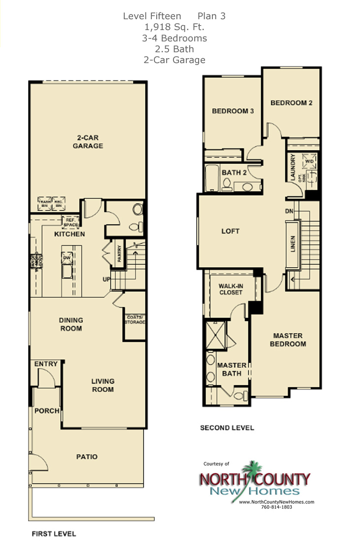 New townhomes, new homes in Escondido at Level Fifteen. Floor Plan 3