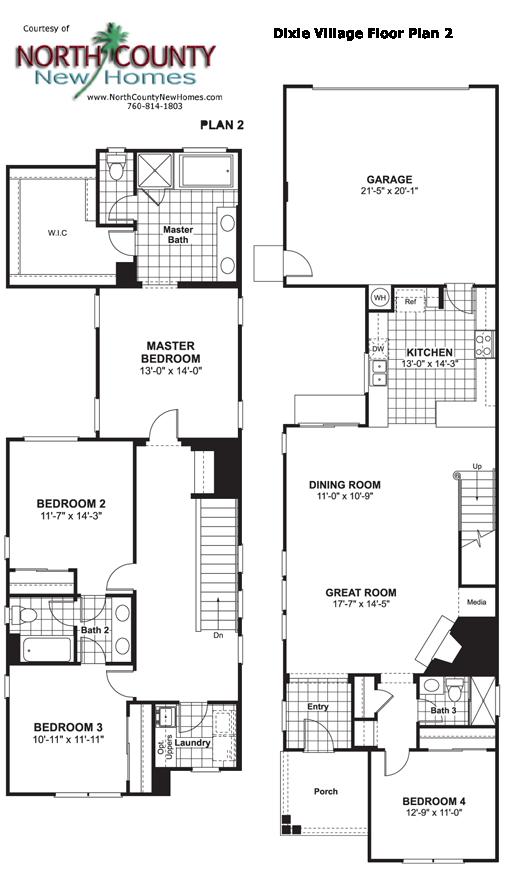 Dixie village floor plan 2 new homes in oceanside for Oceanside house plans