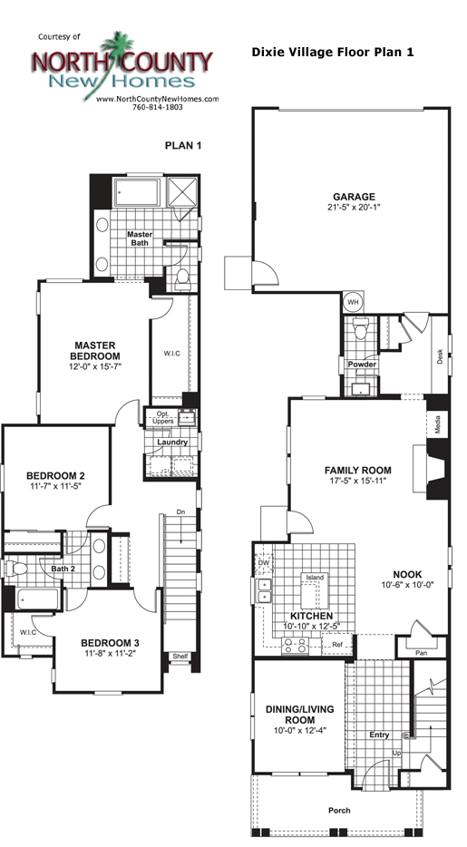 Dixie village floor plan 1 new homes in oceanside Village house plan