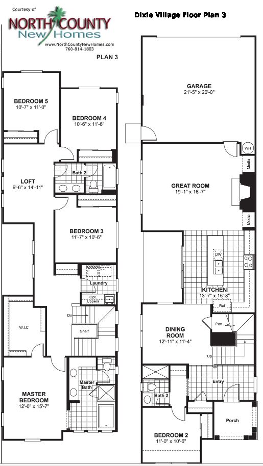 Dixie village floor plan 3 new homes in oceanside for Oceanside house plans