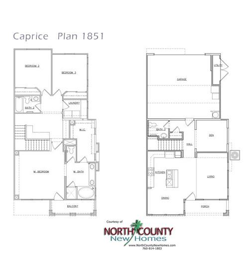 Caprice floor plans new homes in san marcos north for 2 bedroom townhouse plans