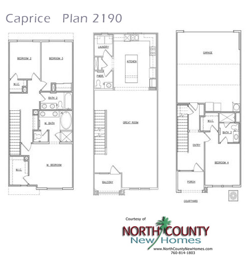 Caprice floor plans new homes in san marcos north for Three story townhouse floor plans
