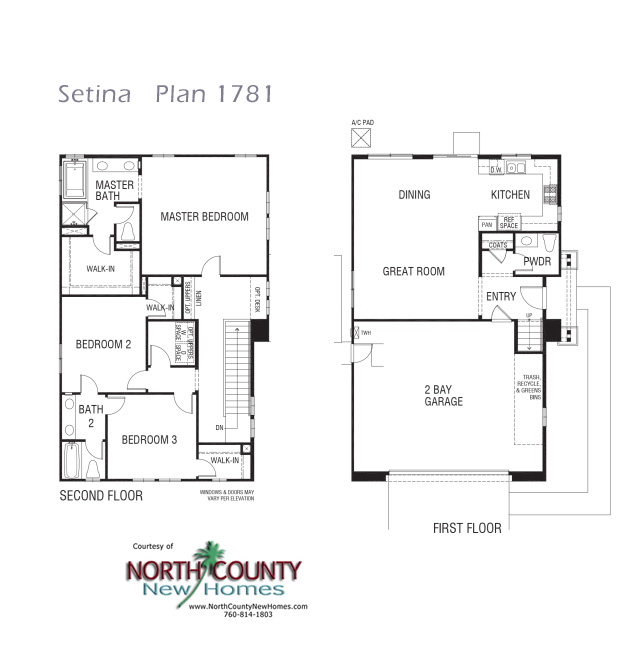 New townhomes in san marcos at setina for Townhouse floor plans 2 bedroom