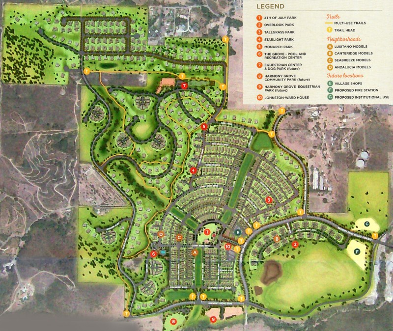 Site map for Harmony Grove Village newhomes in North County San Diego
