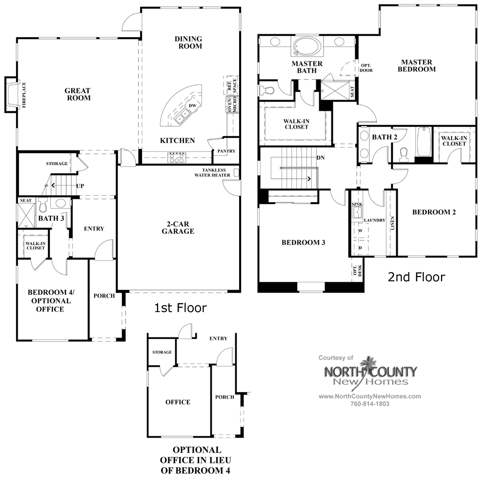 Elms Floor Plan 1 New Homes in Carmel Valley North County New