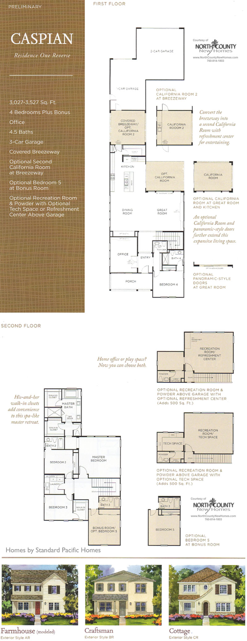 New homes in North County San Diego at Harmony Grove Village, Andalucia . San Diego, Escondido and San Marcos real estate. Caspian Floor Plan 1