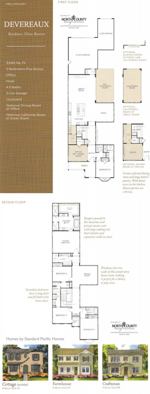 New homes in North County San Diego at Harmony Grove Village, Andalucia . San Diego, Escondido and San Marcos real estate. Devereaux Floor Plan 3