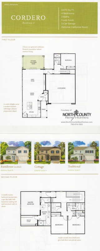 New homes in North County San Diego at Harmony Grove Village. Canteridge. Cordero Plan 3. San Diego, Escondido and San Marcos real estate.