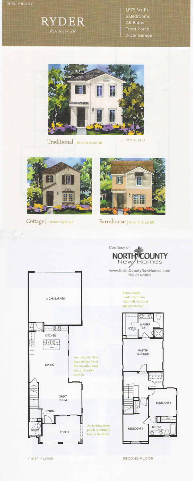 New homes in North County San Diego at Harmony Grove Village, Lustinao. San Diego, Escondido and San Marcos real estate. Ryder Floor Plan 2.