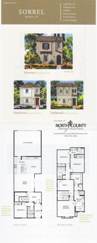 New homes in North County San Diego at Harmony Grove Village, Lustinao. San Diego, Escondido and San Marcos real estate. Sorrel Floor Plan 3