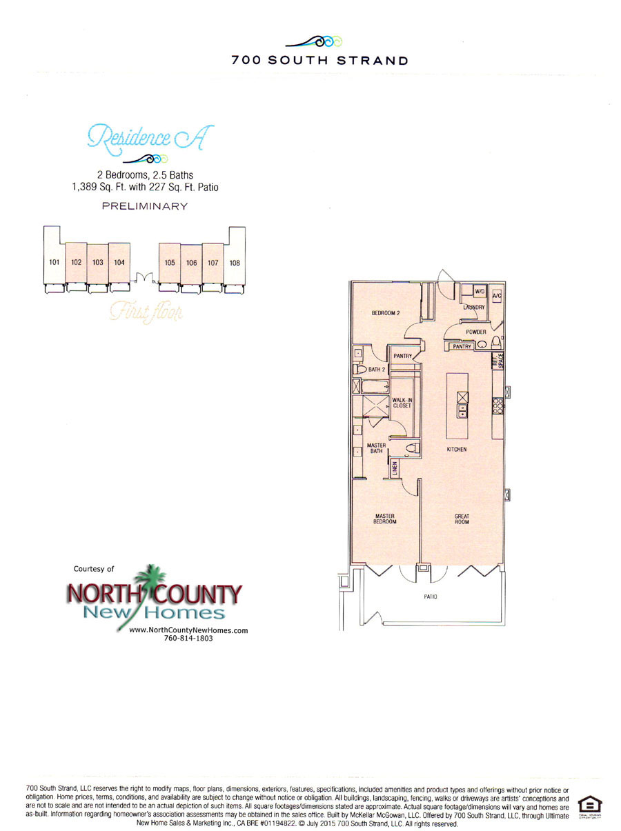 Floor Plan A at 700 South Strand. Waterfront Condos in Oceanside. New condos on the beach in Oceanside, CA