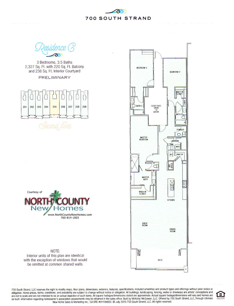 Floor Plan C at 700 South Strand. Waterfront Condos in Oceanside. New condos on the beach in Oceanside, CA