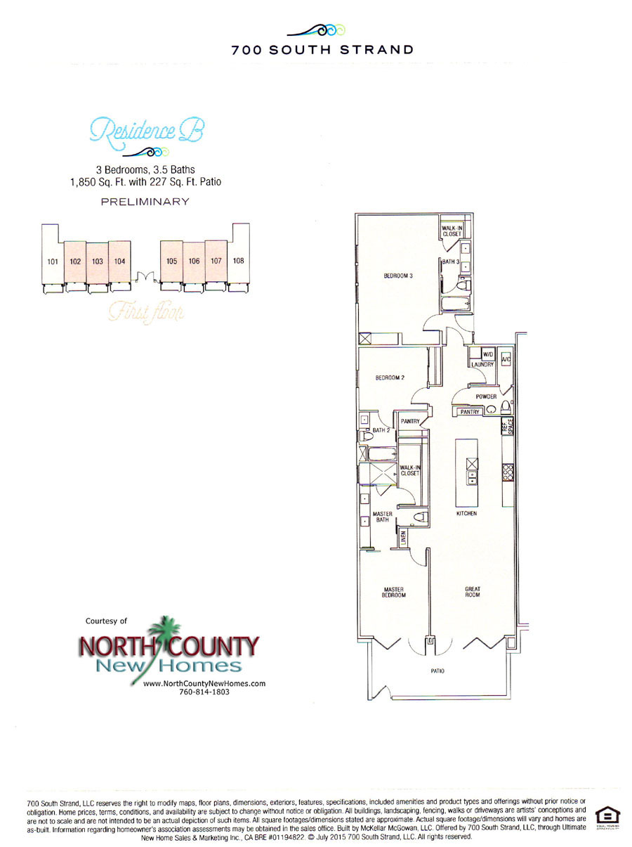Floor Plan B at 700 South Strand. Waterfront Condos in Oceanside. New condos on the beach in Oceanside, CA