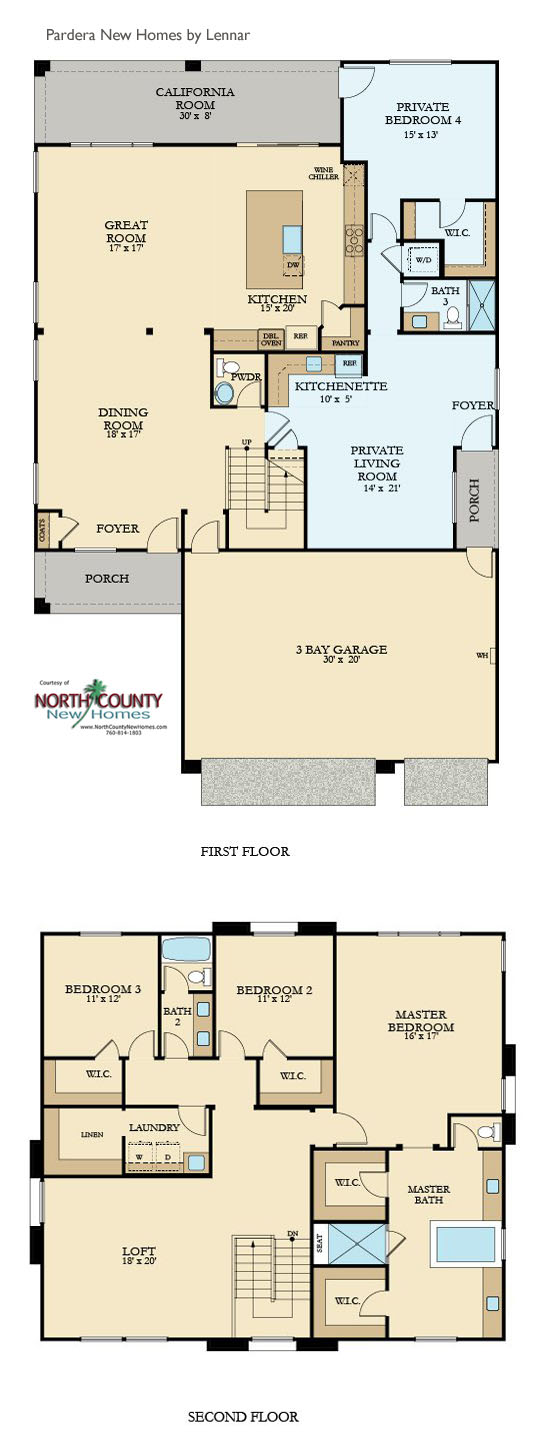 New homes in Escondido. Pradera floor plans.