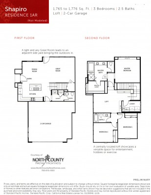 New townhomes and new homes in San Diego at Avery Pointe at Veridian. Near Del Sur. Floor Plan 1A
