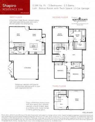 New townhomes and new homes in San Diego at Avery Pointe at Veridian. Near Del Sur. Floor Plan 1XA
