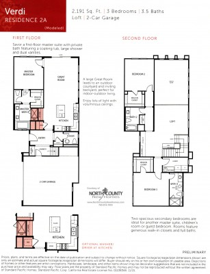 New townhomes and new homes in San Diego at Avery Pointe at Veridian. Near Del Sur. Floor Plan 2A