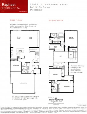 New townhomes and new homes in San Diego at Avery Pointe at Veridian. Near Del Sur. Floor Plan 3A