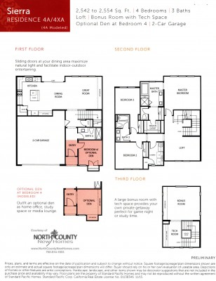 New townhomes and new homes in San Diego at Avery Pointe at Veridian. Near Del Sur. Floor Plan 4A