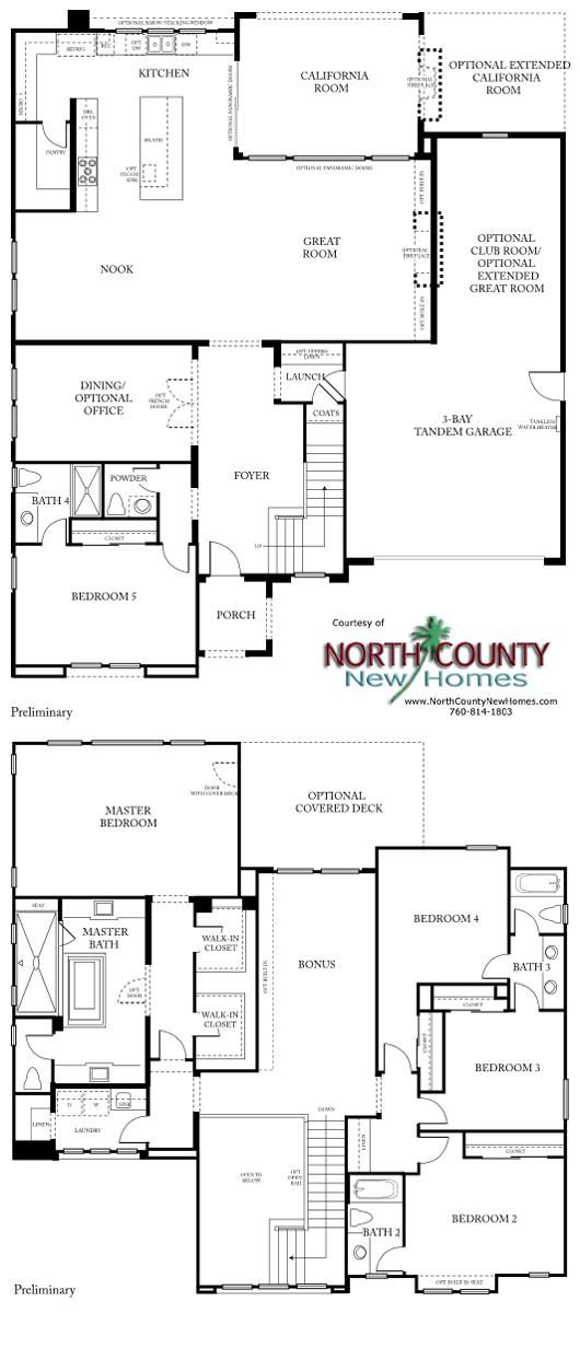 New homes in San Diego at Castello. Near Del Sur. Floor Plan 1