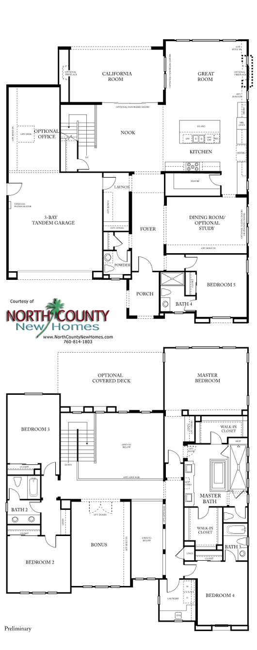 New homes in San Diego at Castello. Near Del Sur. Floor Plan 2
