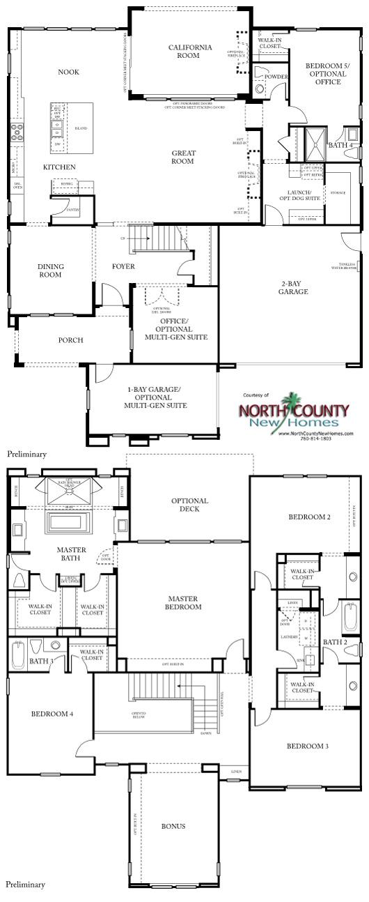 New homes in San Diego at Castello. Near Del Sur. Floor Plan 3
