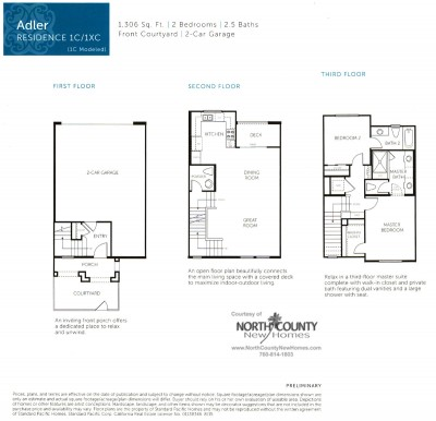 New homes in San Diego near Del Sur. New townhomes at Triton Square at Veridian Floor Plan 1
