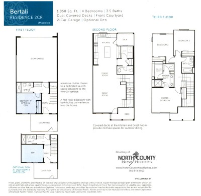 New homes in San Diego near Del Sur. New townhomes at Triton Square at Veridian Floor Plan 2