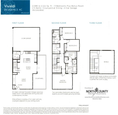 New homes in San Diego near Del Sur. New townhomes at Triton Square at Veridian Floor Plan 4C