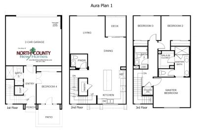 New townhomes in Mira Mesa - San Diego new homes. Aura Floor Plan 1