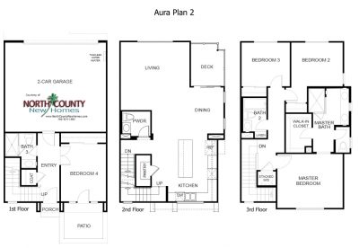 New townhomes in Mira Mesa - San Diego new homes. Aura Floor Plan 2