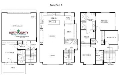 New townhomes in Mira Mesa - San Diego new homes. Aura Floor Plan 3