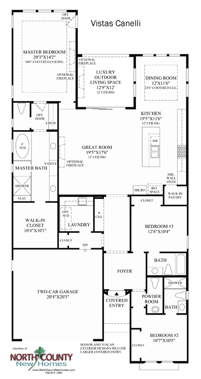 Canelli Floor Plan new homes in Carlsbad at Robertson Ranch