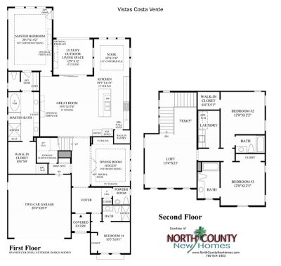 Costa Verde Floor Plan new homes in Carlsbad at Robertson Ranch