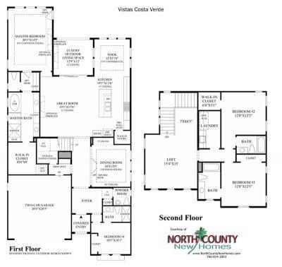 Costa Verde Floor Plan new homes in Carlsbad at Robertson Ranch