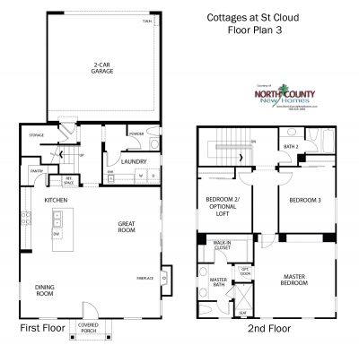 New homes in Oceanside. New townhomes at Cottages at St Cloud. Floor plan 3.